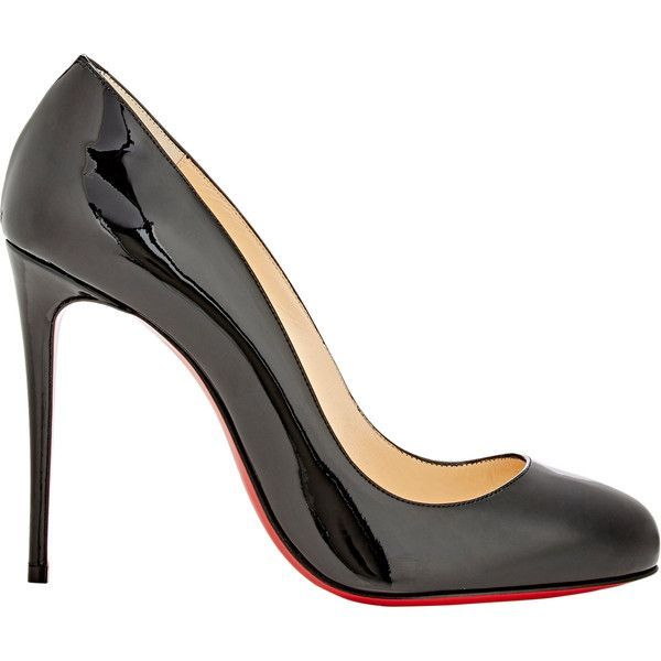 Christian Louboutin Patent Dorissima Pumps (£440) ❤ liked on Polyvore featuring shoes, pumps, black, black stilettos, slip on shoes, stiletto pumps, christian louboutin pumps and black shoes