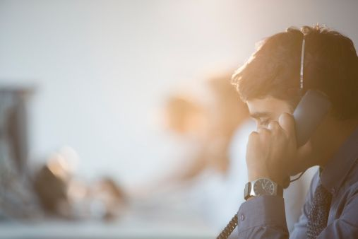 Businessman Talking On Telephone In Office Stock Photo 468839611