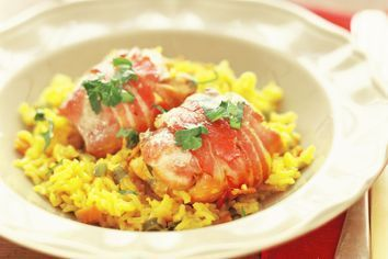 Chicken, bacon and rice bake
