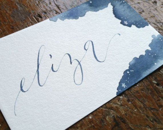 Notte stellata acquerello posto Card matrimonio di SwellandSwirl