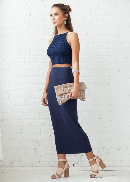 COVETED LOOK - Cosmopolitan   Featured: Oliver Knit Crop in navy & Whitney Maxi Skirt in navy www.covetedbasics.com