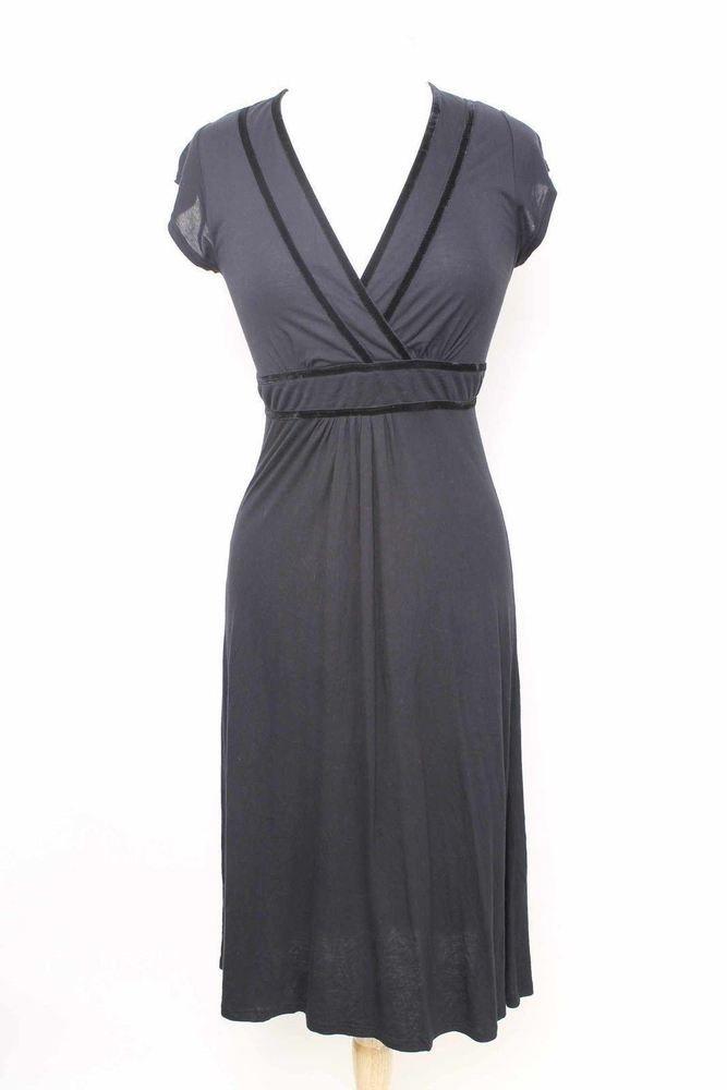 Size 8 Chic Black Cap Sleeve Midi Length Dress 1799 L115  | eBay