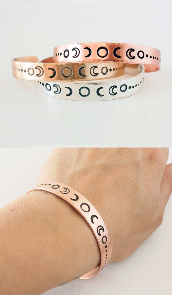 Moon phase cuff bracelets by Zenned Out in copper, brass and sterling silver.