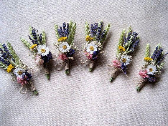 Meadow dried flower boutonniere set 6 groomsman by FlowerDecoupage