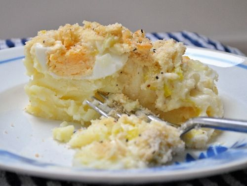Anglesey Egg Recipe - a great dish for a vegetarian - eggs, mash and leeks!  Not too pretty looking, but a great tasting dish from the isle of Anglesey off the north coast of Wales!