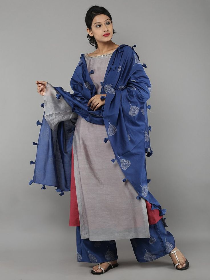 Grey Blue Red Chanderi Cotton Suit - Set of 4