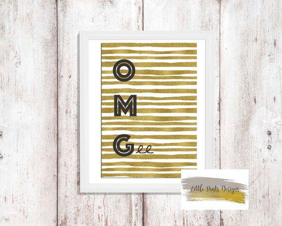 OMG Glitter Gold Digital Print Art by LittlePantsDesigns on Etsy