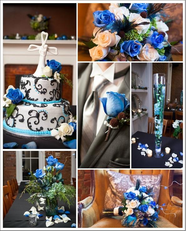 Hochzeitstorte, Brautstrauss, alles in blau - weiss