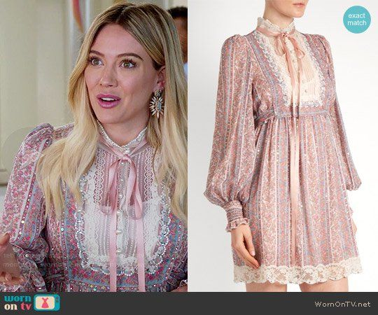 Kelsey's pink floral dress with ribbon neck on Younger.  Outfit Details: https://wornontv.net/75083/ #Younger