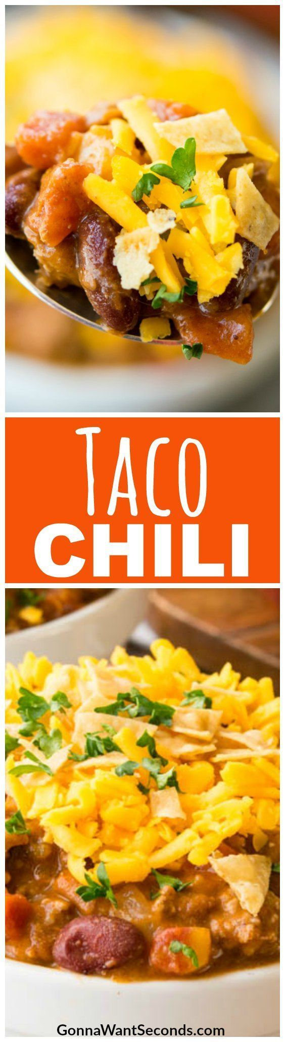 Taco Chili – it's the chili that the whole family will love! This warm and chunky chili, seasoned like your favorite taco filling, is a one-pot wonder and guaranteed dinner favorite. #Taco #Chili #Beef #Stovetop #Soup #Best #Simple #BlackBeans #Families #SeasoningMixes #EnchiladaSauce #ComfortFood #Crockpot #SlowCooker #InstantPot #Chicken #Turkey #TortillaChips #TacoSeasoning #Hominy #ChiliBeans