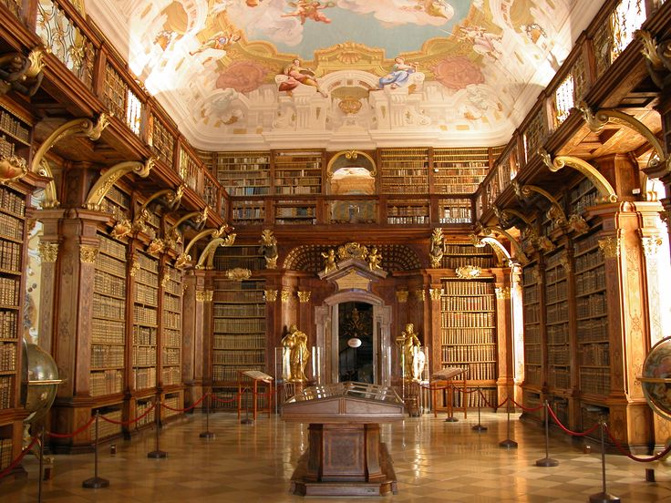 The Library at Melk Abbey. I'm sure it must have been an inspiration fot the Beauty and the Beast library :-)