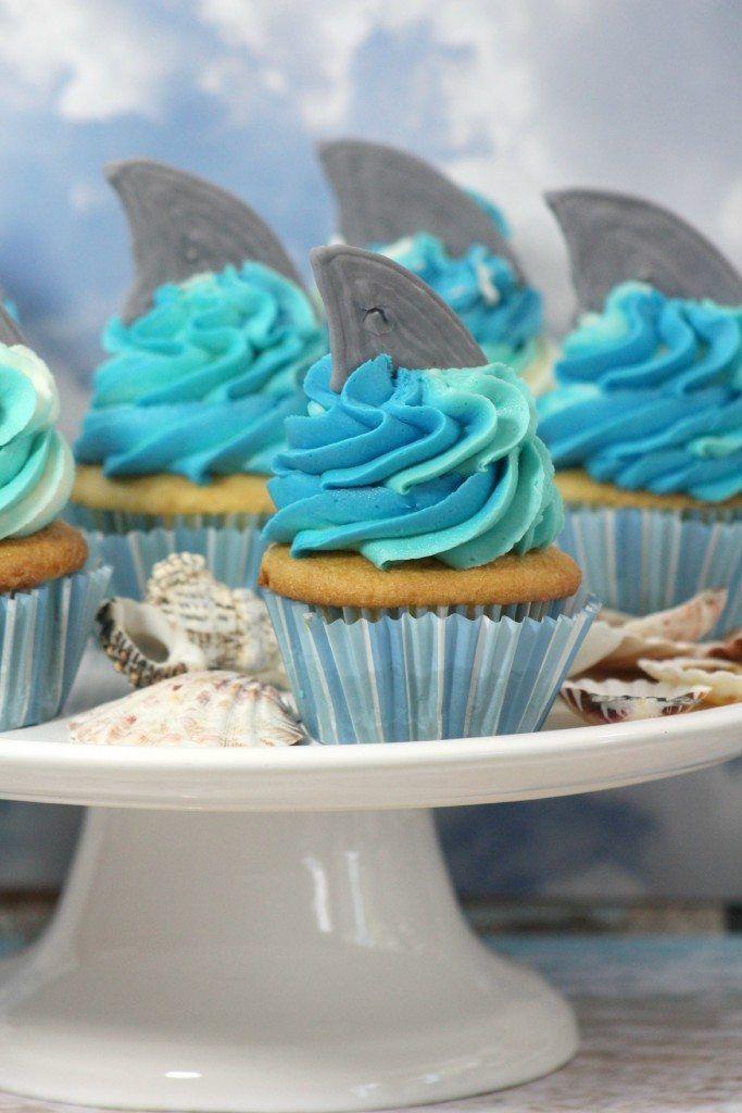 How to Make Shark Week inspired Easy DIY Shark Cupcakes! The perfect cupcake to celebrate Shark Week, Under the sea Ocean kids birthday party,