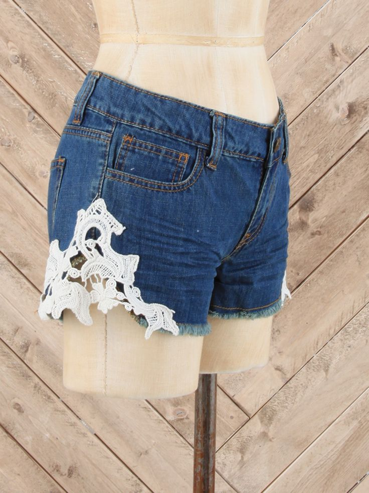 Jackie Eyelet Denim Shorts by Others Follow - Apparel