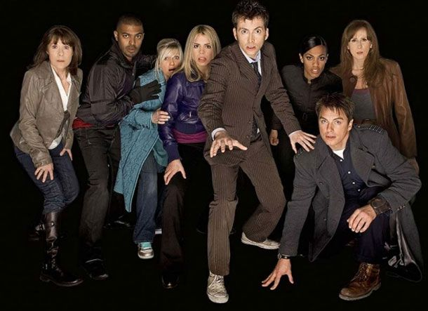 A picture that will NEVER be taken again! The 10th Doctor and his companions: Sarah Jane, Micky Smith, Jackie Tyler, Rose Tyler, The 10th Doctor, Martha Jones, Donna Nobel and Captain Jack Harkness