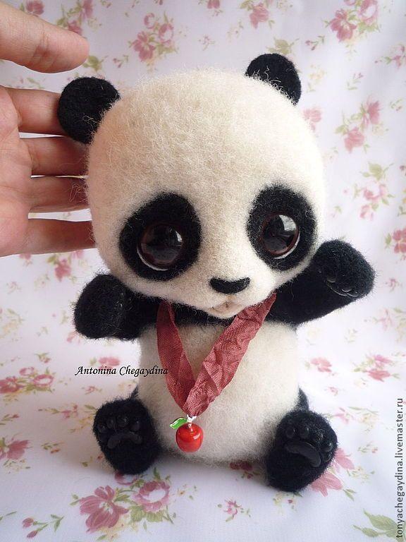 Купить Панда валяная Боня - панда, панда валяная, панда валяние, Сухое валяние, шерсть