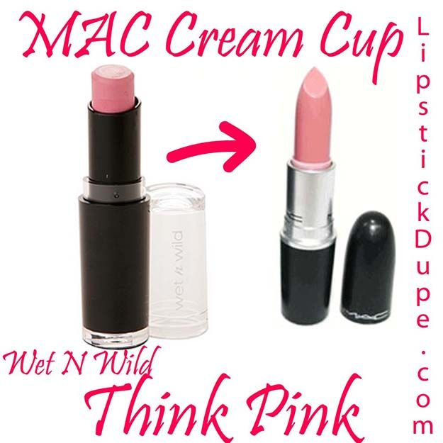 MAC Cream Cup / Wet N Wild Think Pink | MAC Lipstick Dupes We Can't Live Without, check it out at http://makeuptutorials.com/mac-lipstick-dupes-makeup-tutorials