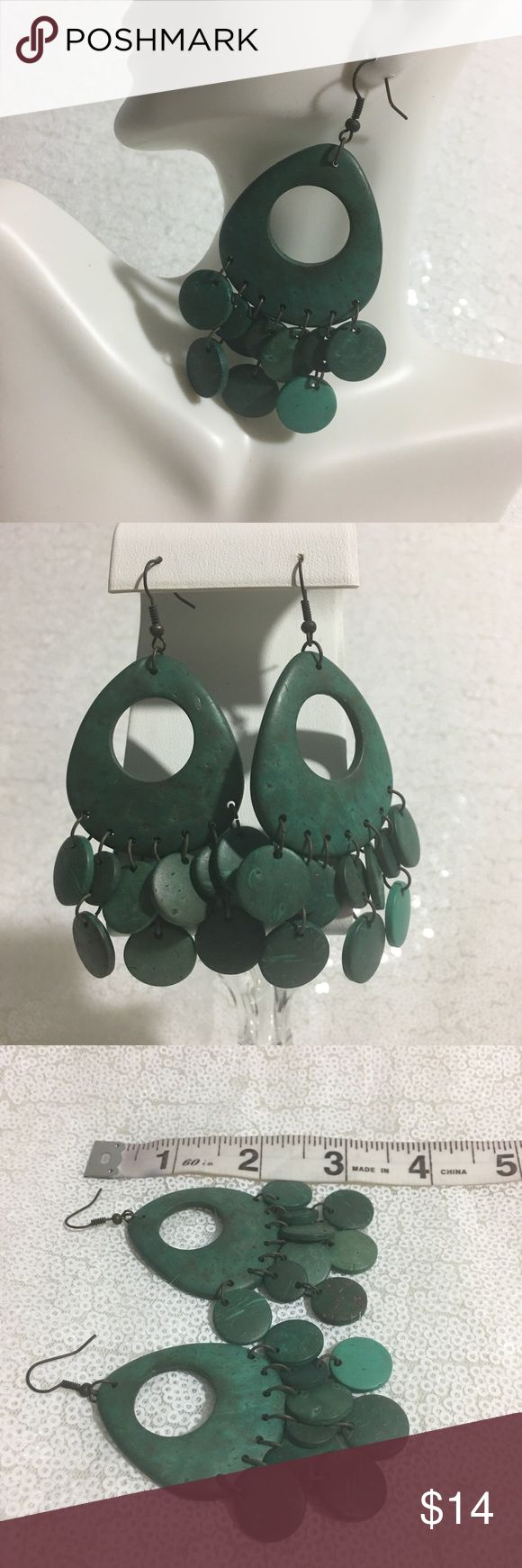 Distressed Forest Green Chandelier Earrings Boutique
