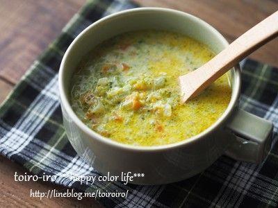 野菜がた~っぷりの、食べるスープを紹介します^^なんと、ブロッコリー1株、人参1本、タマネギも1個(小)入ってます。 豆乳を使ったカレー風味のスープなのできっとお豆腐が苦手なお子さんや、野菜嫌いのお子さんでも食べやすいんじゃないかなと思います。早速作り方を紹