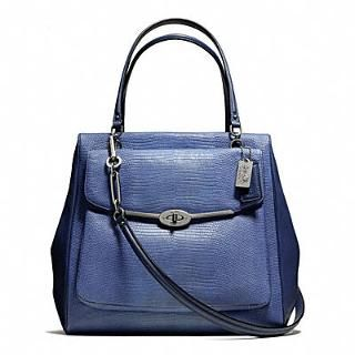 MADISON NORTH/SOUTH SATCHEL IN LIZARD EMBOSSED LEATHER