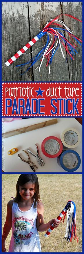 The Fourth of July holiday is coming up quickly, and with it comes outdoor fun, picnics, barbecues, fireworks, and of course, a parade! You can't go to a parade without something fun to wave in the air, so we're going to make a parade stick with the kids.