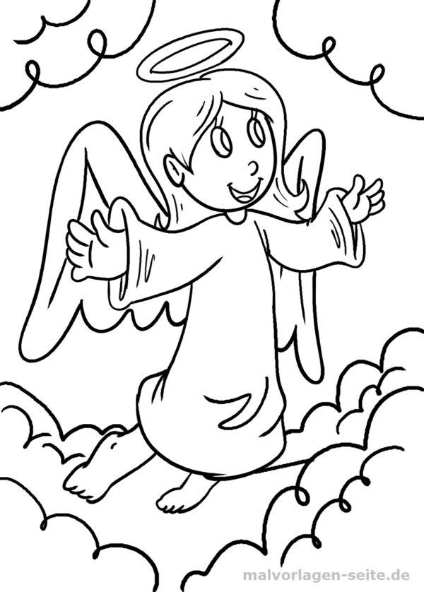 Malvorlage / Ausmalbild Engel -  Coloring pages for Kids with Translation Button! Malvorlagen / Ausmalbilder für Kinder https://malvorlagen-seite.de/ #ausmalen #malen #malvorlage #malvorlagen #download #free #kostenlos