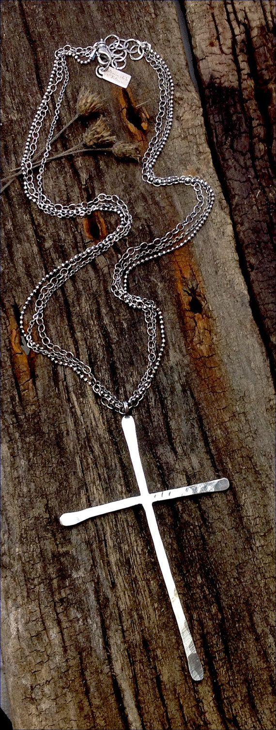 Huge Sterling Silver Cross Necklace Handmade Jewelry by joykruse, $225.00