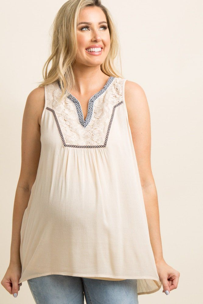 fda0315684f393 Cream Embroidered Crochet Accent Sleeveless Top A flowy