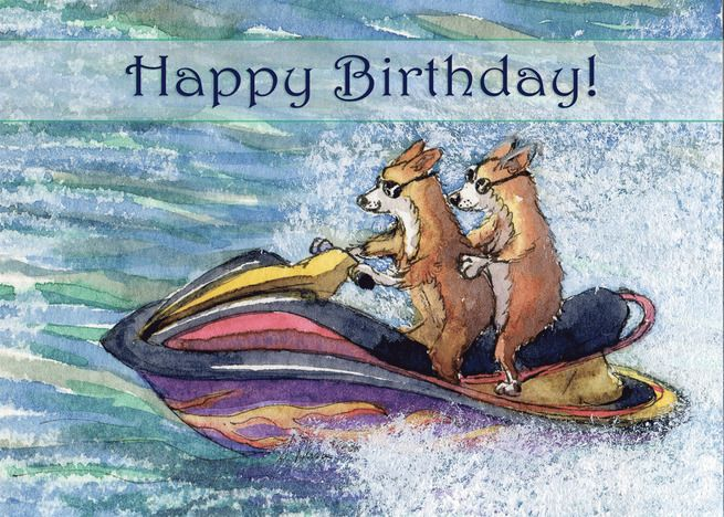 Happy Birthday Corgi Dogs On A Speedboat Card Ad Sponsored