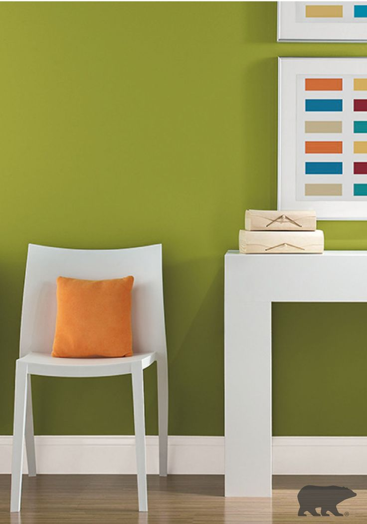 pairing this green lazy lizard paint color with ultra pure white wall trim looks stunning with