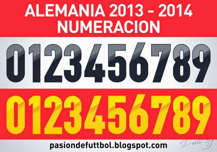 Diseños, Vectores y Templates para Camisetas de Futbol: ALEMANIA 2013 - 2014 NUMERACION
