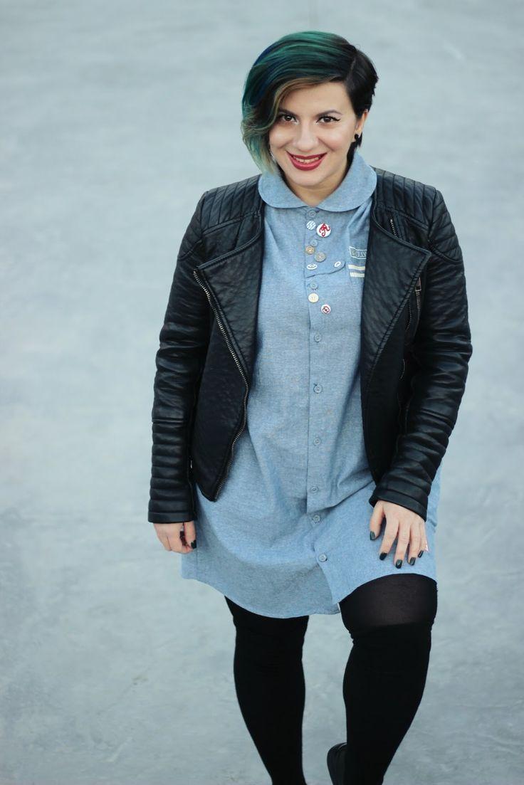Shirt dress/Rochie cămașă  - HERE Oxford shoes/Pantofi oxford - CCC Jacket/Jachetă  - Shein Otk socks/Șosete peste genunchi  - Choie...