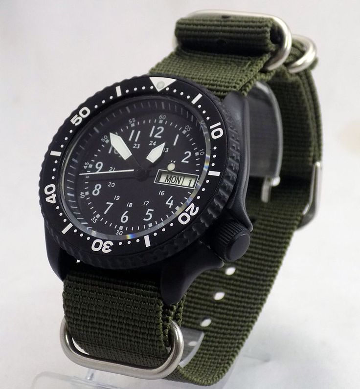 SEIKO MOD AUTOMATIC 7S26 SCUBA DIVERS WATCH 24 HR MILITARY DIAL PILOT HANDS