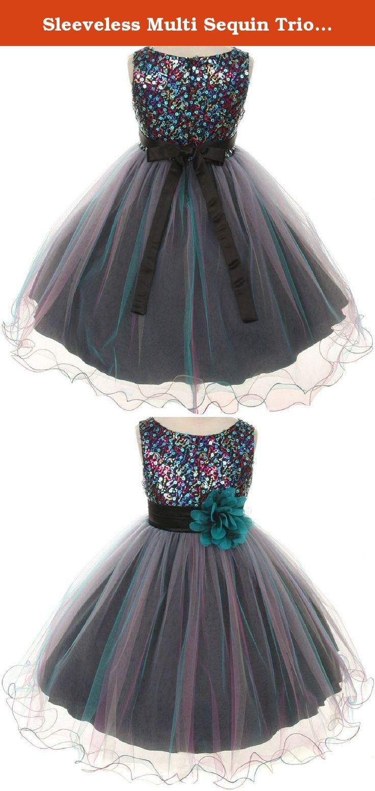 Sleeveless Multi Sequin Trio Little Girl Special Occasion Dresses (32K7D) Teal 4. Sophisticated and elegant dress for your girl. This stunning fancy dress features a rounded boat neck, trio color palette sequined bodice and a tulle skirt with overlay. The flower adorned at satin waistband gives an elegant allure to the dress. Zips up and ties with a bow in the back.