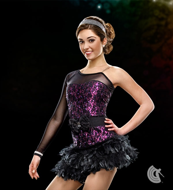 Curtain Call Costumes® - Dance Squad  Lined sequin poly/spandex top with attached mesh bodice panel and sleeve, and separate nylon/spandex feather skirt with attached nylon/spandex briefs. INCLUDES: rhinestone bow belt.   2013 Curtain Call Dance Costumes Collection. For Australian information www.curtaincallcom.au #dance #costumes #australia