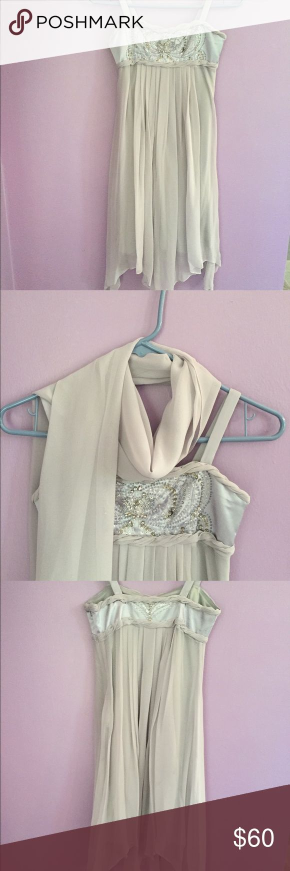 ⚡️REDUCED GIRLS pearl gray 100% silk dress Gorgeous girls special occasion dress with handkerchief hemline and matching sheer scarf. The satin bodice is beaded front and back with sequins and rhinestones. 100% silk, fully lined with side zipper. The Collection by Sara Sara. Only worn once. Sara Sara Dresses Formal