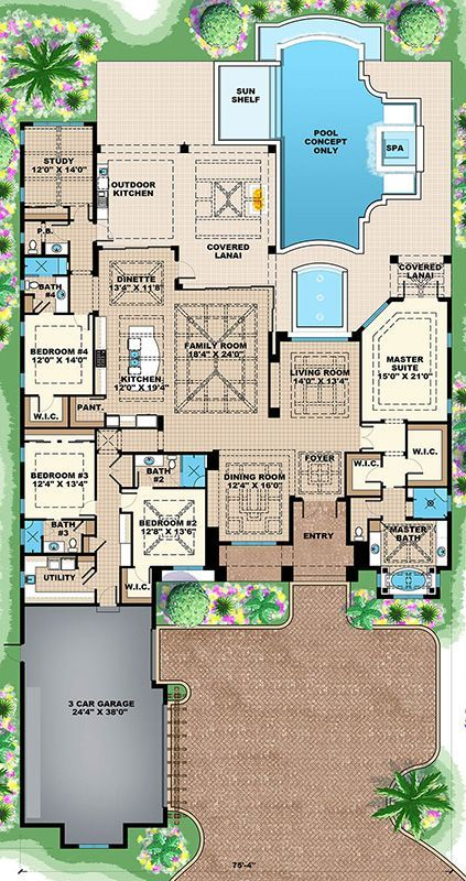 House Plan 1018-00232 - Coastal Plan: 4,089 Square Feet, 4 Bedrooms, 4.5…