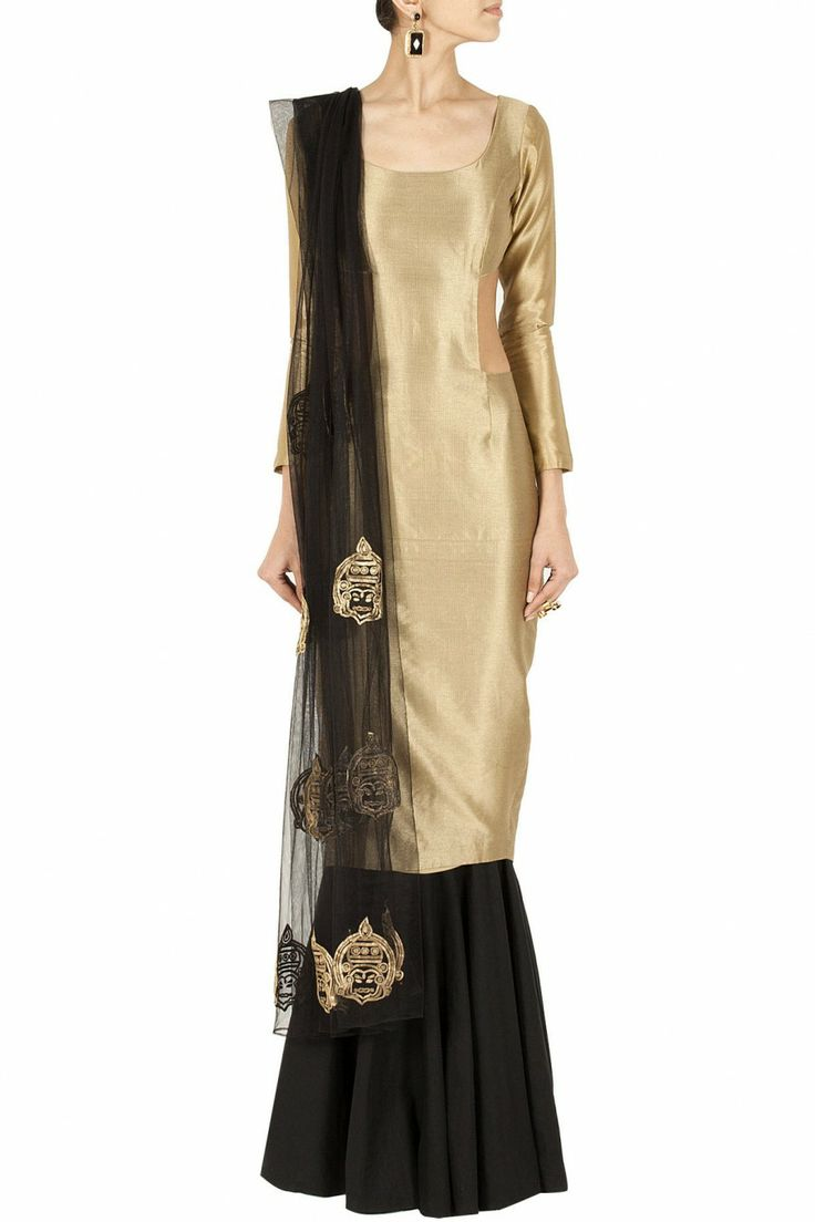 Gold cut out kurta with skirt BY NIKHIL THAMPI