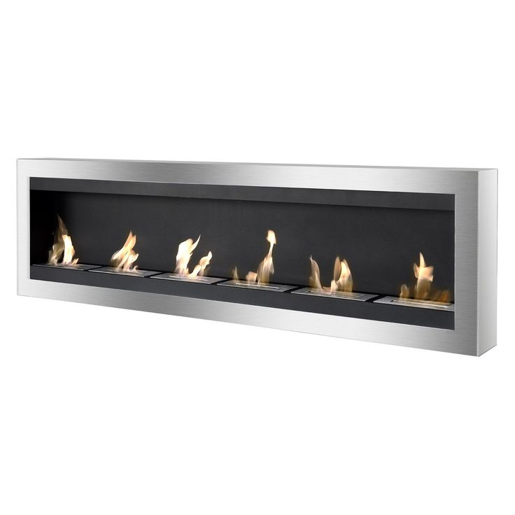 Ignis WMF-012 Maximum Wall Mounted Ventless Ethanol Fireplace, Black/Silver black/ stainless steel (Glass)
