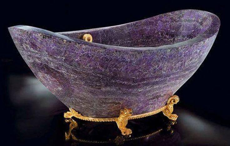 Amethyst bathtub: Can anyone imagine taking a bath in an Amethyst bathtub? OMG! Talk about rich guilty pleasures!