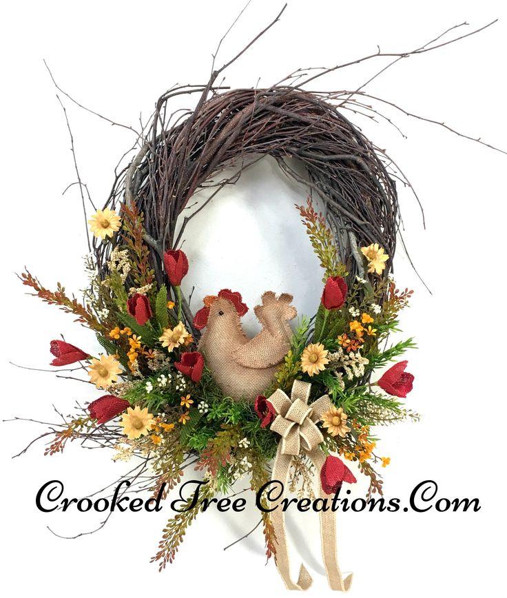 Large Birch Wreath With Burlap Chicken
