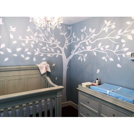 Misshow Large White Tree Wall Decal For Nursery With Cute Owls Wall Sticker,Family Tree Art,Birch Tree Decals