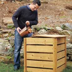 Attractive, simple to make compost bin with sliding panels for 50-100 bucks depending on type of wood used.