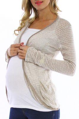 Gold/Beige Knit Maternity Cardigan