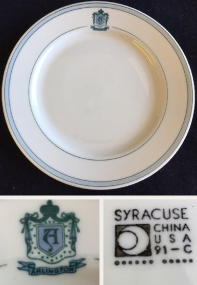 Syracuse China plate made for the Arlington Hotel, Hot Springs, Arkansas. Backstamp date code 91-C  (Mar 1962).