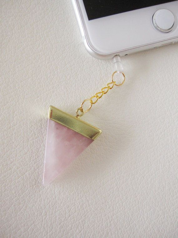 Attract love - Pink rose quartz triangle stone quartz crystal reiki drusy druzy cellphone dust plug charm - iPhone 6, 6S, 6 Plus, 5, 5S, Samsung Galaxy S7, S6, S5, can be used with almost all cell phone types. Rose quartz is said to promote love.