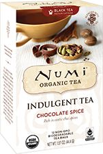 Numi Organic Tea Chocolate Spice | This melt-in-your-mouth chocolate spice tea blends rich cacao with a host of colorful chai spices. Ginger and allspice are warming while cardamom adds kick and cinnamon rounds off this exotic treat.