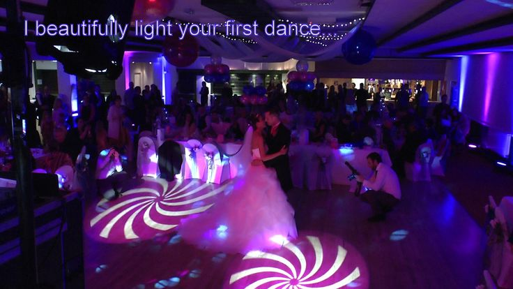 Pink gobos projected onto the dancefloor with pink and blue uplighting set a beautiful scene for this first dance - DJ Martin Lake