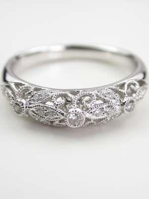 Floral and Filigree Wedding Ring, RG-1748wb
