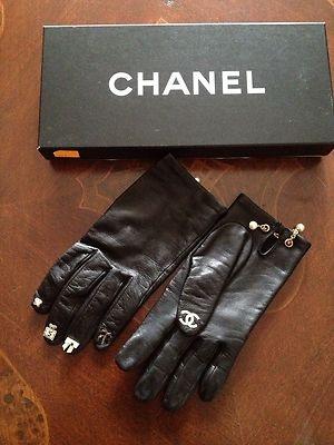 "Chanel Guanti Gants Gloves""5 Icons"" Black Lambskin"