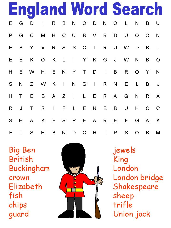 England Word Search Puzzle: Features 16 words that are English icons.